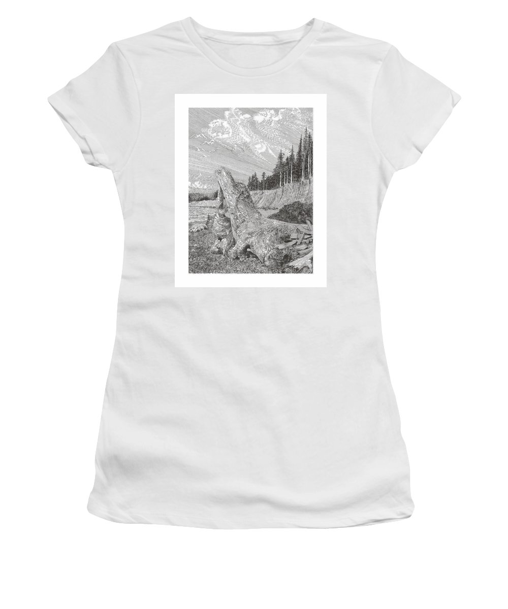 Nautical Marine Driftwood Women's T-Shirt (Athletic Fit) featuring the drawing Shipwrecked by Jack Pumphrey