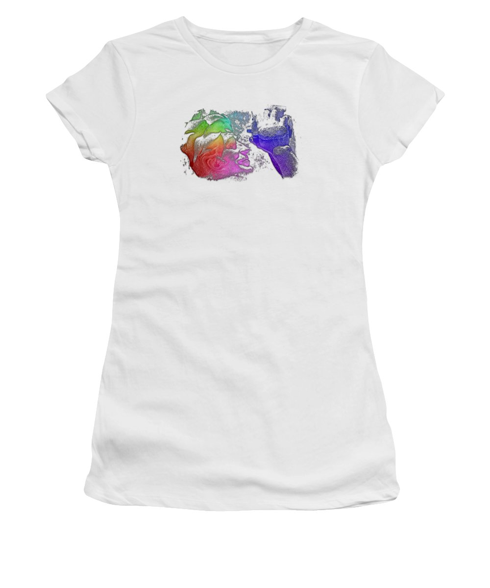 Cool Women's T-Shirt (Athletic Fit) featuring the photograph Shoot For The Sky Cool Rainbow 3 Dimensional by Di Designs