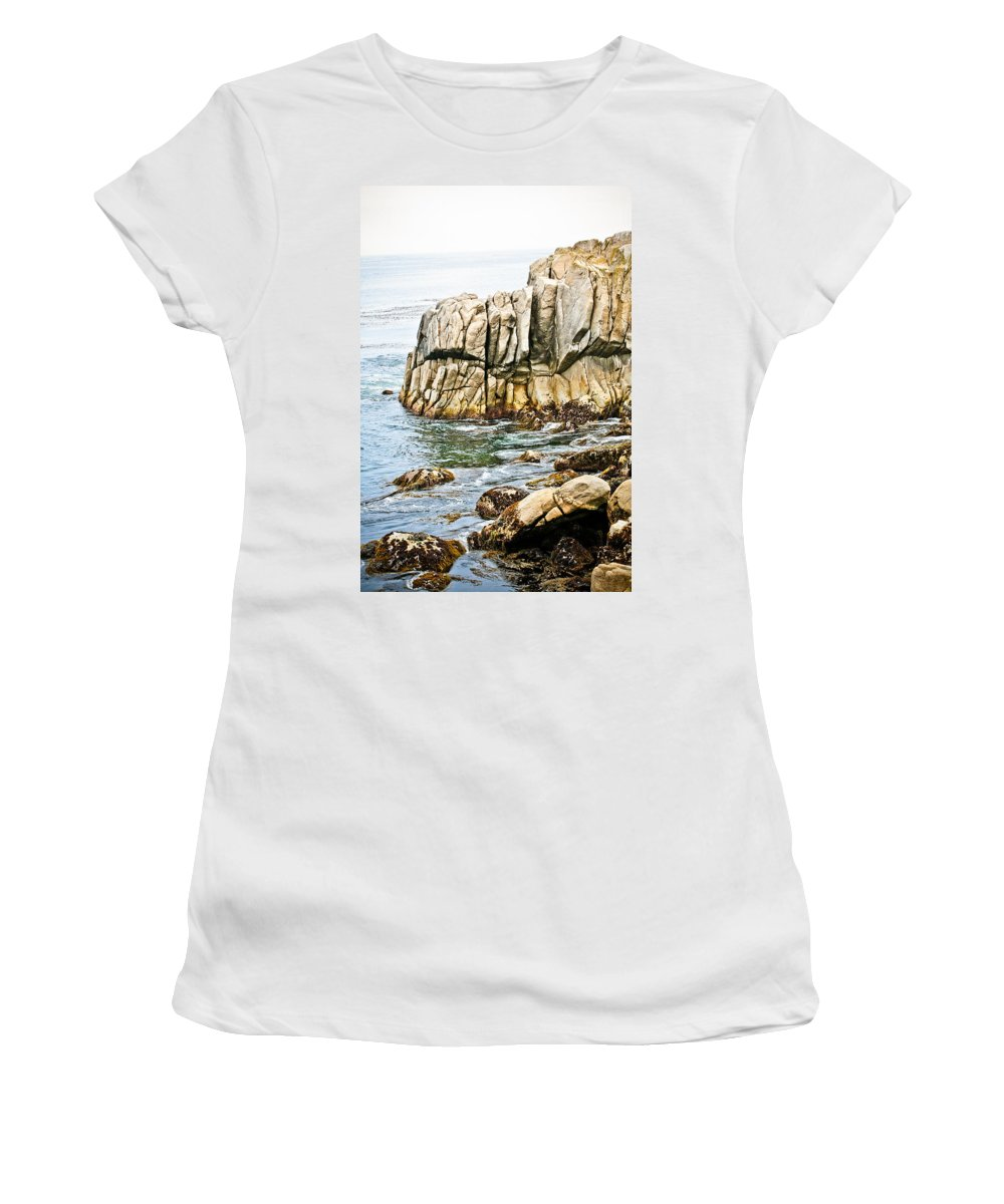 Pebble Beach Women's T-Shirt (Athletic Fit) featuring the photograph Shores Of Pebble Beach by Marilyn Hunt