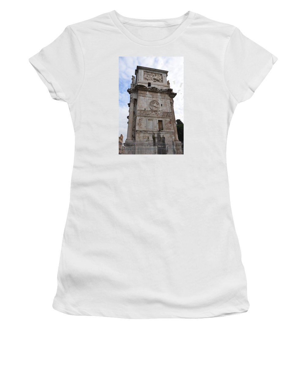 Arch Of Constantine Women's T-Shirt (Athletic Fit) featuring the photograph Side View Of The Arch Of Constantine by Tammy Mutka