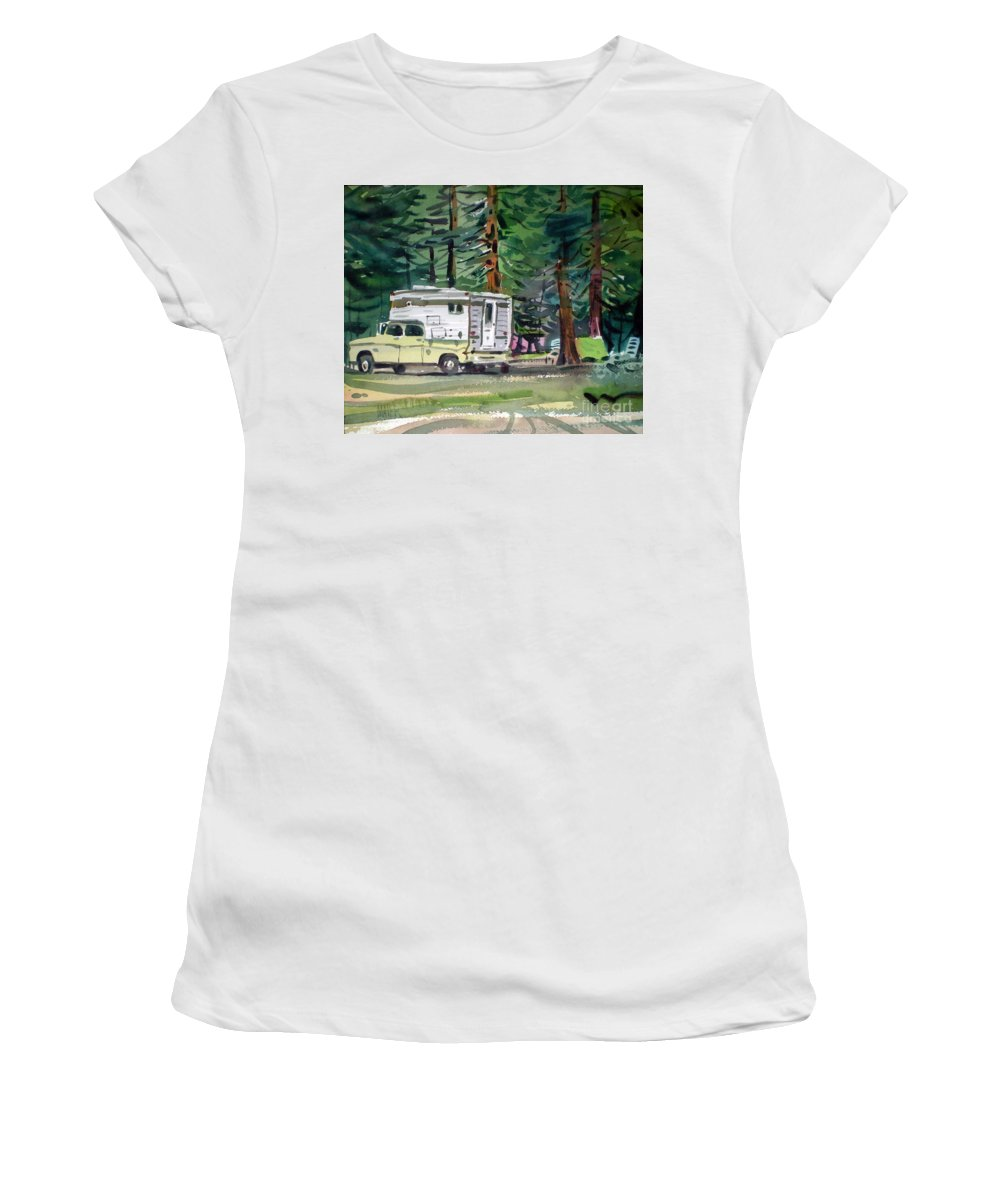 Camping Women's T-Shirt (Athletic Fit) featuring the painting Sierra Campsite by Donald Maier