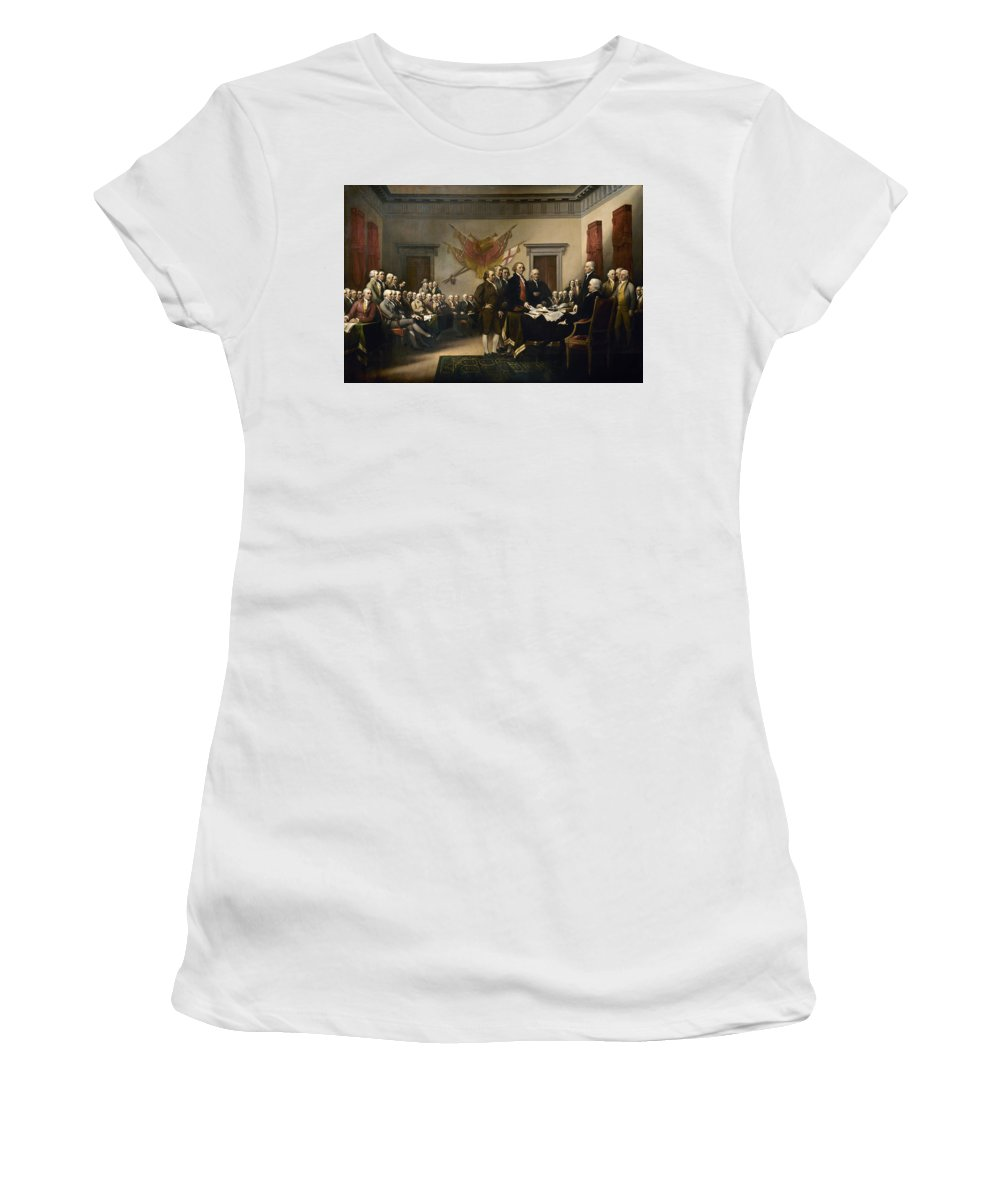 Declaration Of Independence Women's T-Shirt (Athletic Fit) featuring the painting Signing The Declaration Of Independence by War Is Hell Store