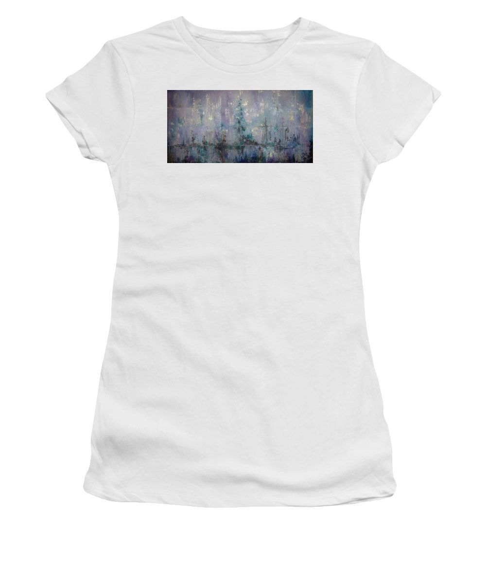 Abstract Women's T-Shirt (Athletic Fit) featuring the painting Silver And Silent by Shadia Derbyshire