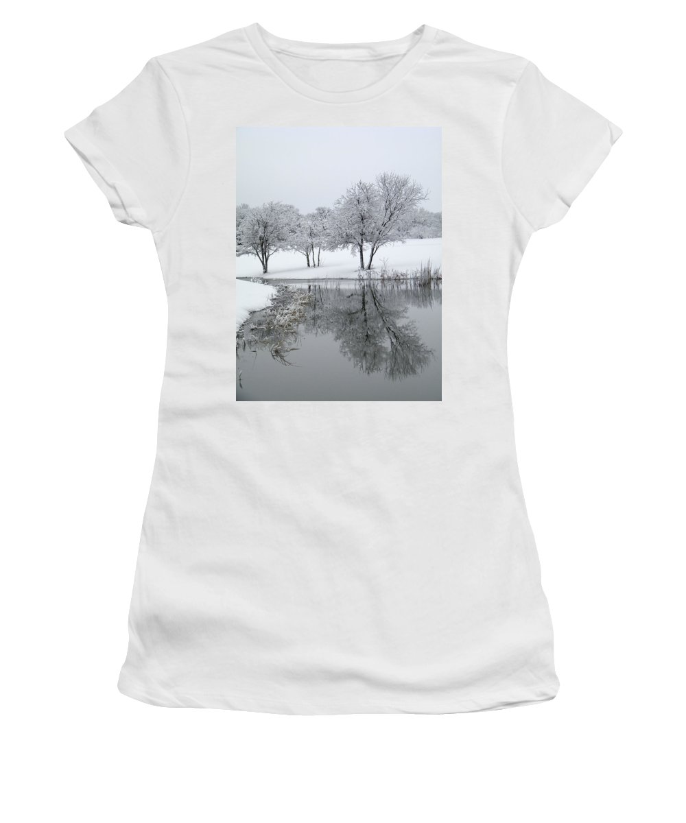 Pond Women's T-Shirt (Athletic Fit) featuring the photograph Silver Morn by Gale Cochran-Smith