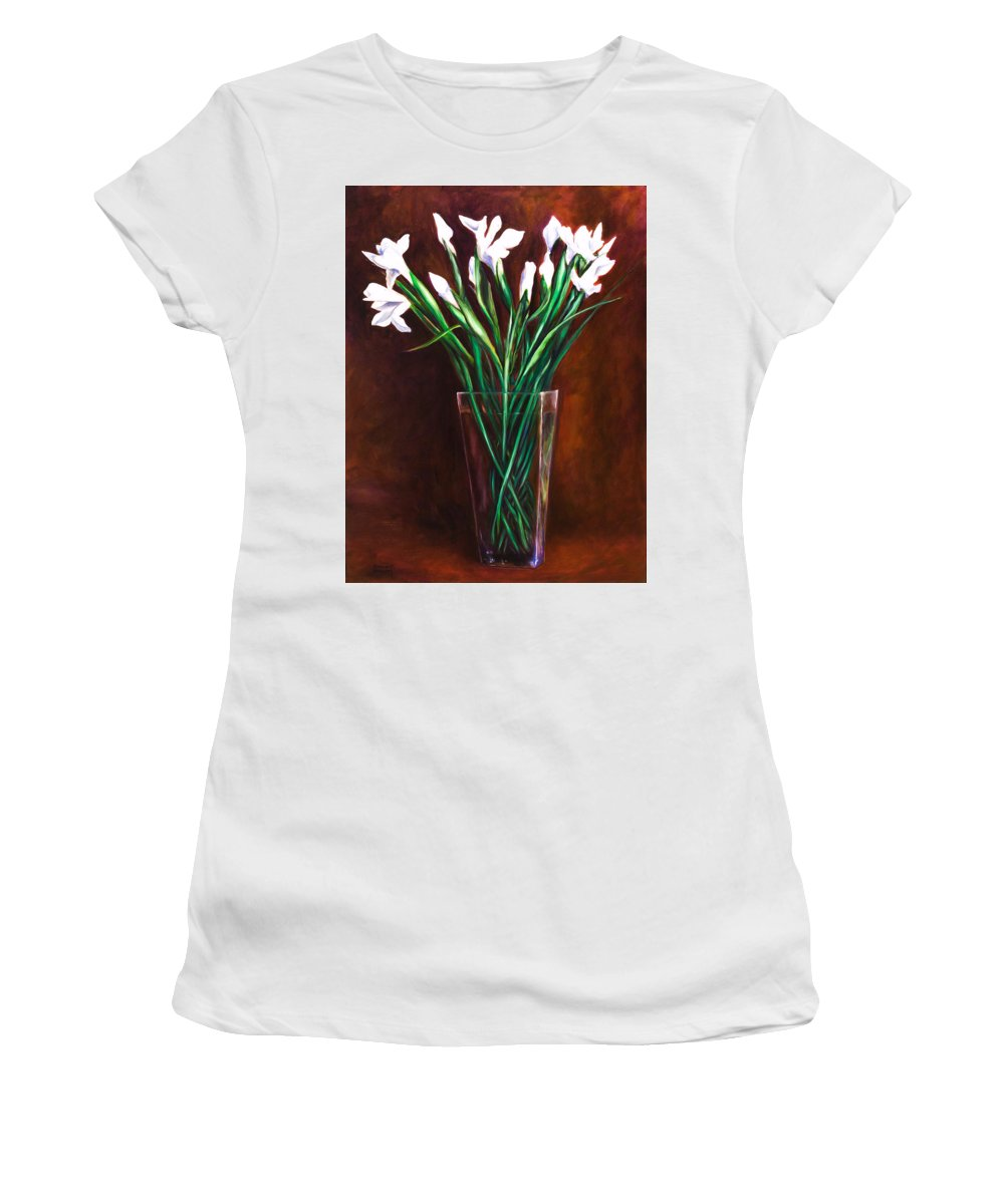 Iris Women's T-Shirt (Junior Cut) featuring the painting Simply Iris by Shannon Grissom