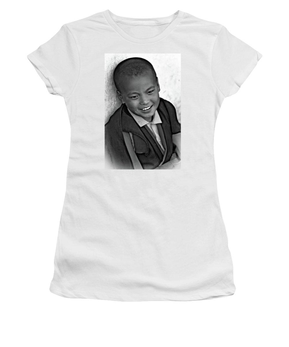 Thailand Women's T-Shirt (Athletic Fit) featuring the photograph Simply Joy Bw by Steve Harrington