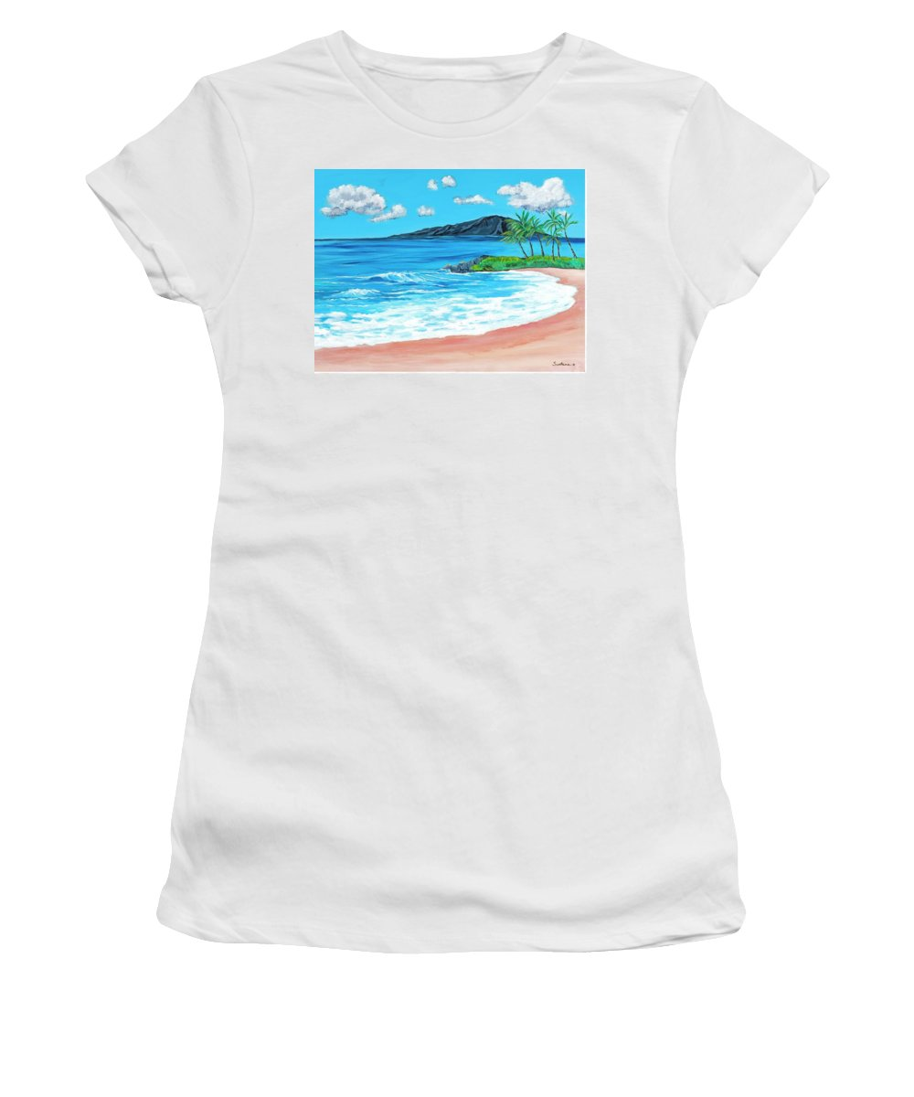 Beaches Women's T-Shirt featuring the painting Simply Maui 18 X 24 by Santana Star