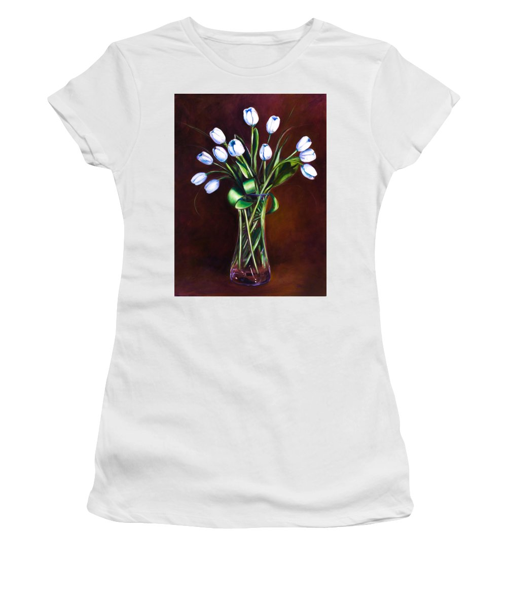 Shannon Grissom Women's T-Shirt (Athletic Fit) featuring the painting Simply Tulips by Shannon Grissom