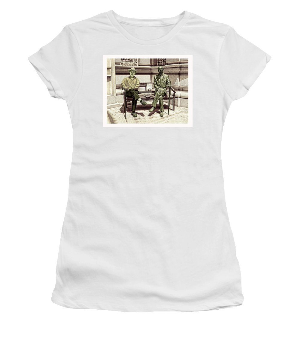 Jim Fitzpatrick Women's T-Shirt featuring the photograph Sitting Next To A Statue Of Jan Karski Legendary Polish Underground Courier  by Jim Fitzpatrick