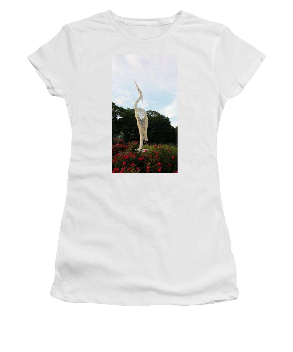 Birds Women's T-Shirt featuring the photograph Sky Crane by Rob Hans