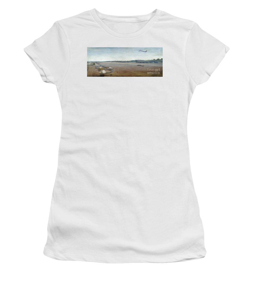 City Airport Women's T-Shirt featuring the photograph Small City Airport Plane Taking Off Runway by David Zanzinger