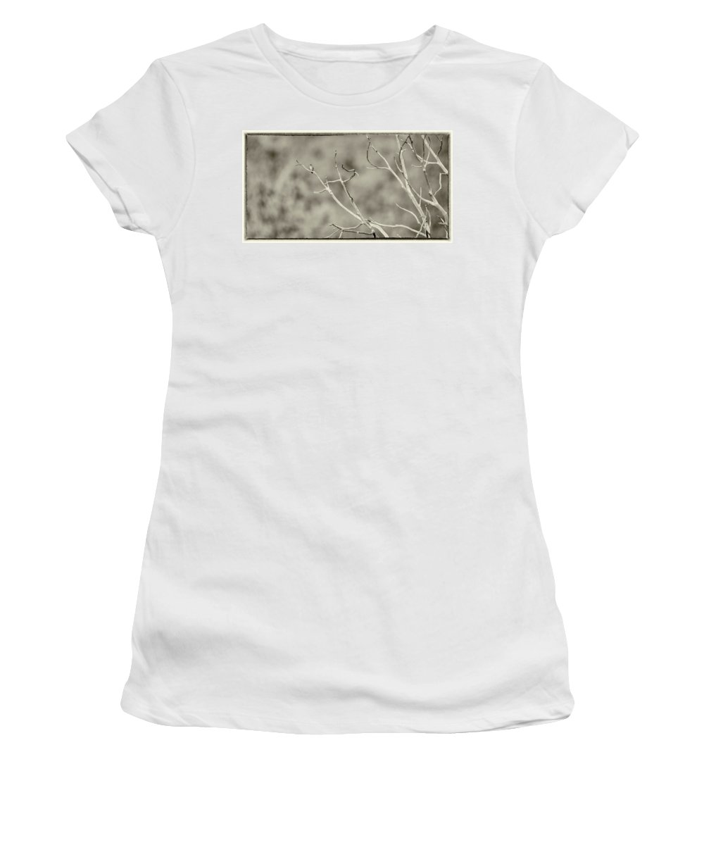 Black And White Women's T-Shirt (Athletic Fit) featuring the photograph Small Lonesome Bird by Wendy Gallant