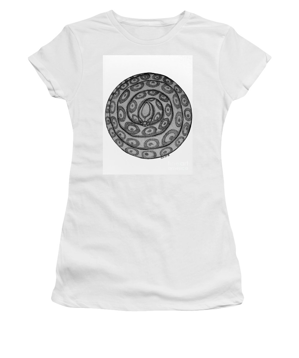 Animal Women's T-Shirt (Athletic Fit) featuring the drawing Snake Ball by Nick Gustafson