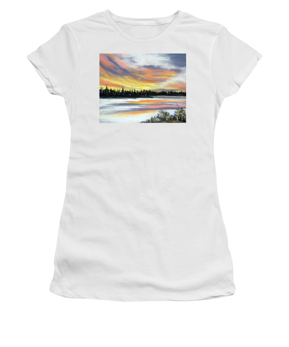Sunset Women's T-Shirt (Athletic Fit) featuring the pastel Snake River Sunset by Gale Cochran-Smith
