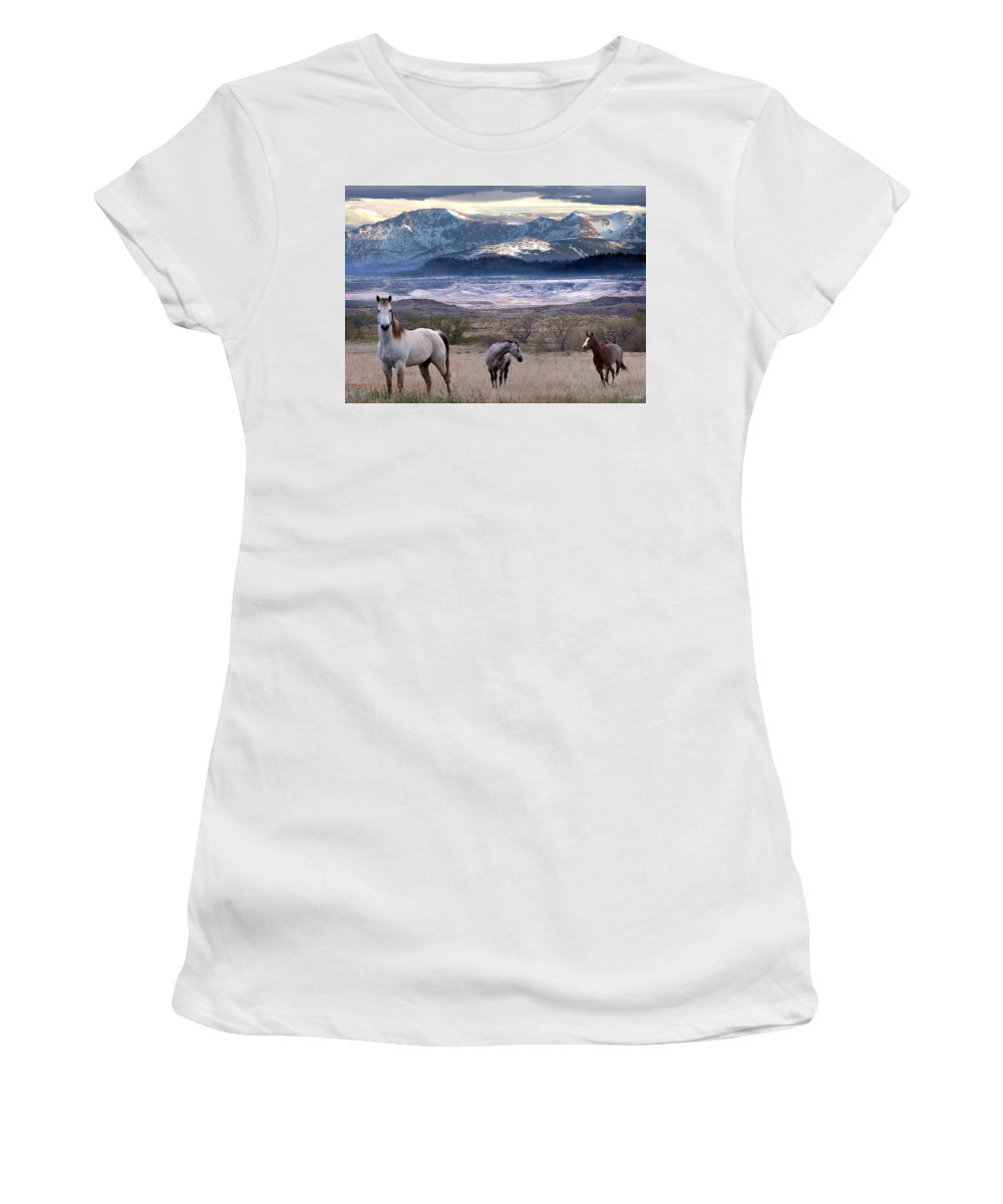 Horses Women's T-Shirt (Athletic Fit) featuring the digital art Snapshot by Bill Stephens