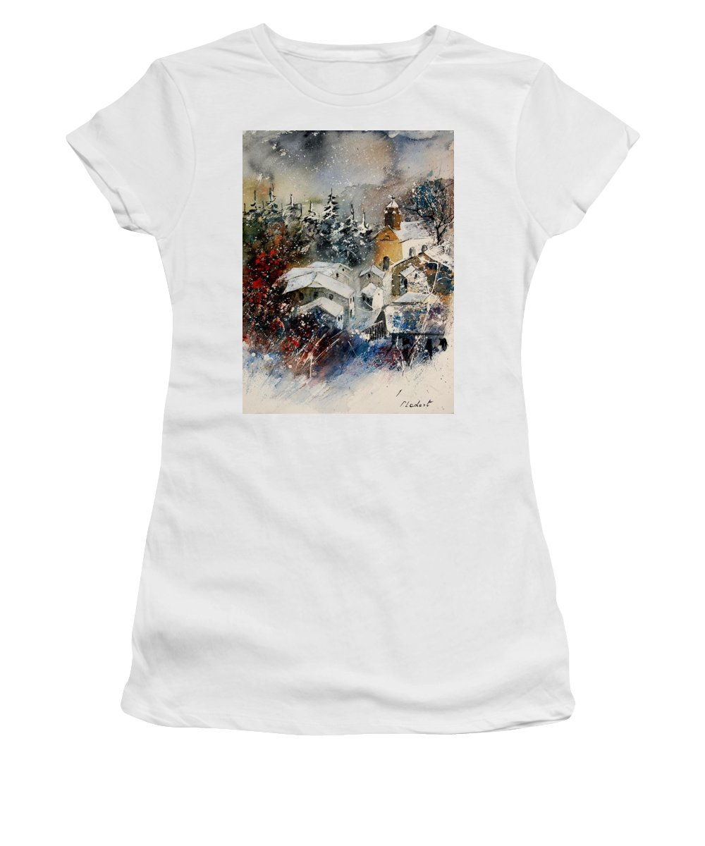 Landscape Women's T-Shirt featuring the painting Snon In Frahan by Pol Ledent