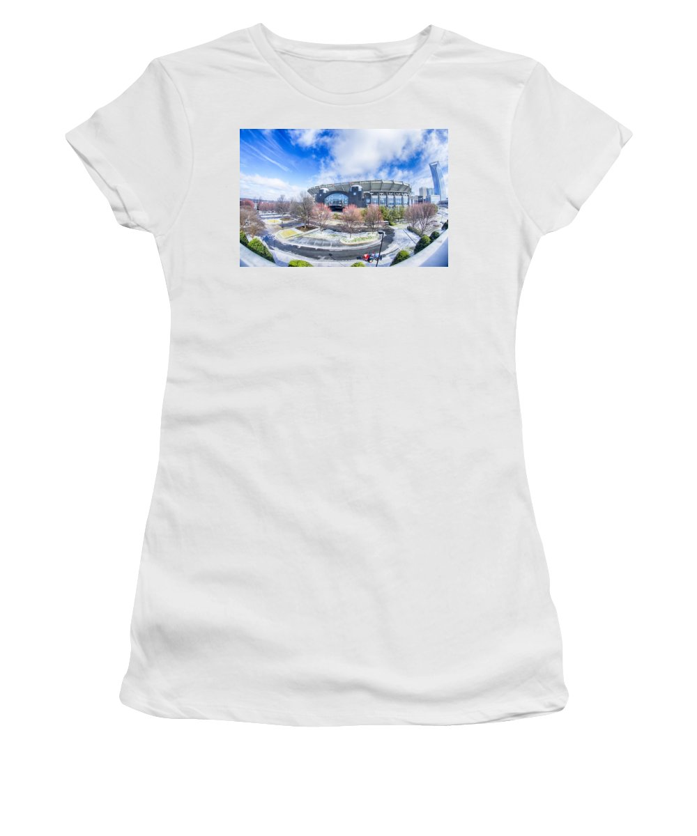 Snow Women's T-Shirt (Athletic Fit) featuring the photograph Snow And Ice Covered City And Streets Of Charlotte Nc Usa by Alex Grichenko