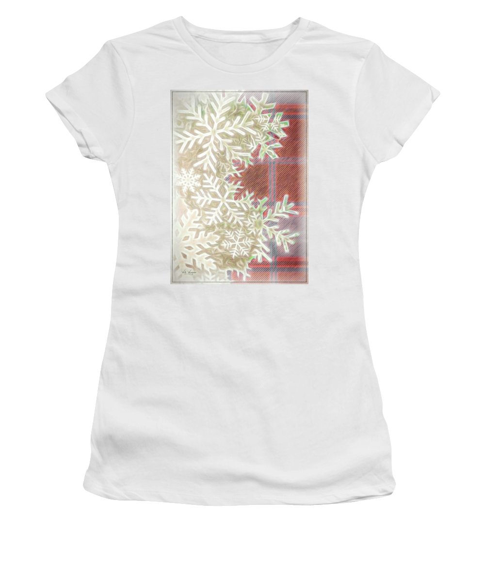 Snow Women's T-Shirt (Athletic Fit) featuring the photograph Snowflakes by Will Wagner