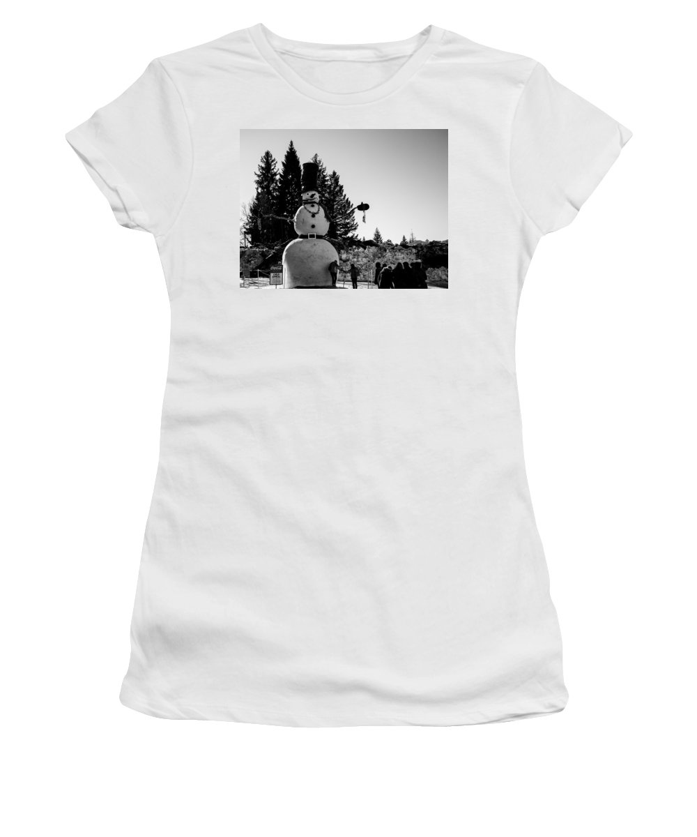 Mccall Women's T-Shirt featuring the photograph Snowman by Angus Hooper Iii