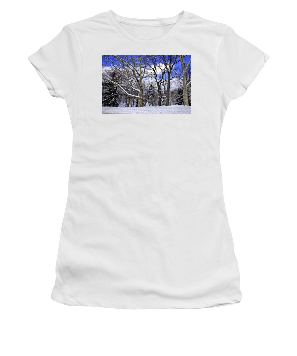 Snowman Women's T-Shirt featuring the photograph Snowman In Central Park Nyc by Madeline Ellis