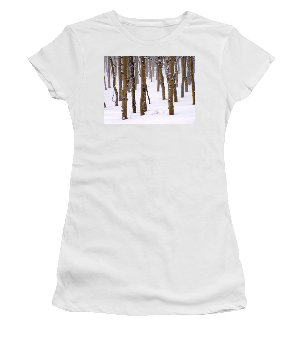 Aspen Women's T-Shirt (Athletic Fit) featuring the photograph Snowy Aspen by Carol Milisen