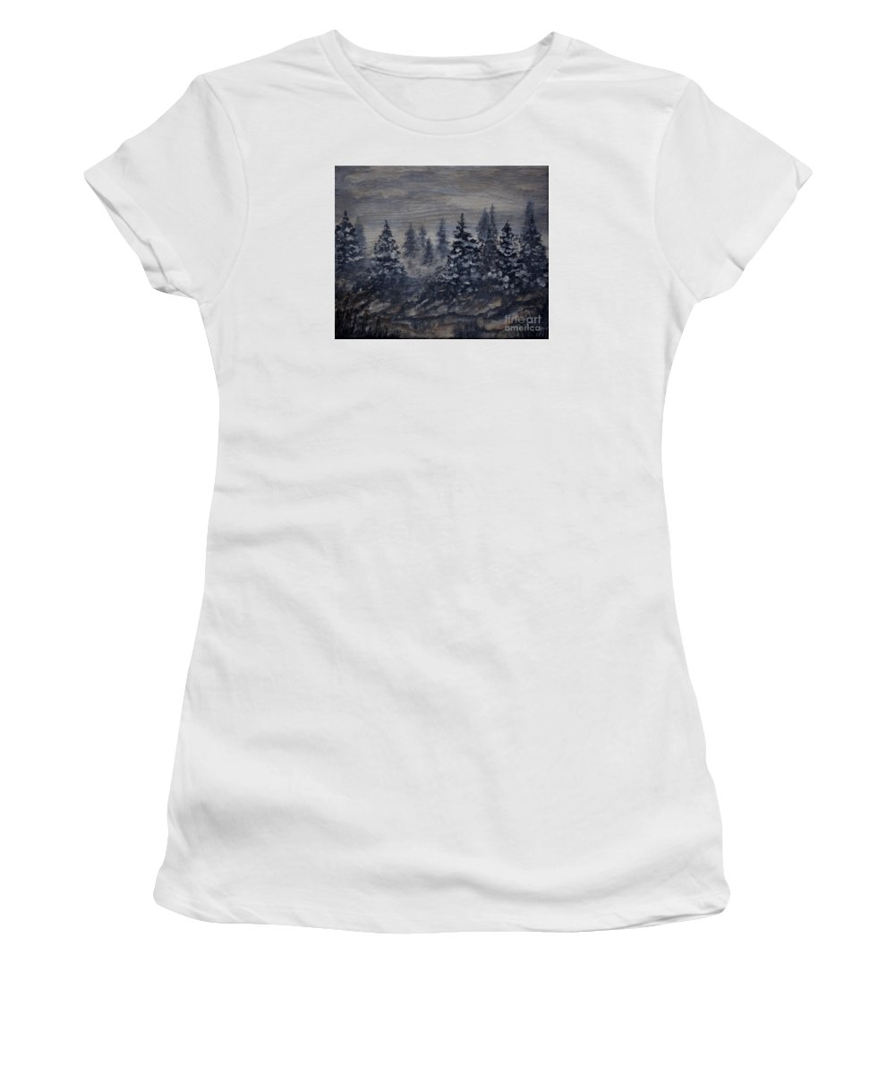Monochrome Women's T-Shirt (Athletic Fit) featuring the painting Snowy Pines by Tim Musick