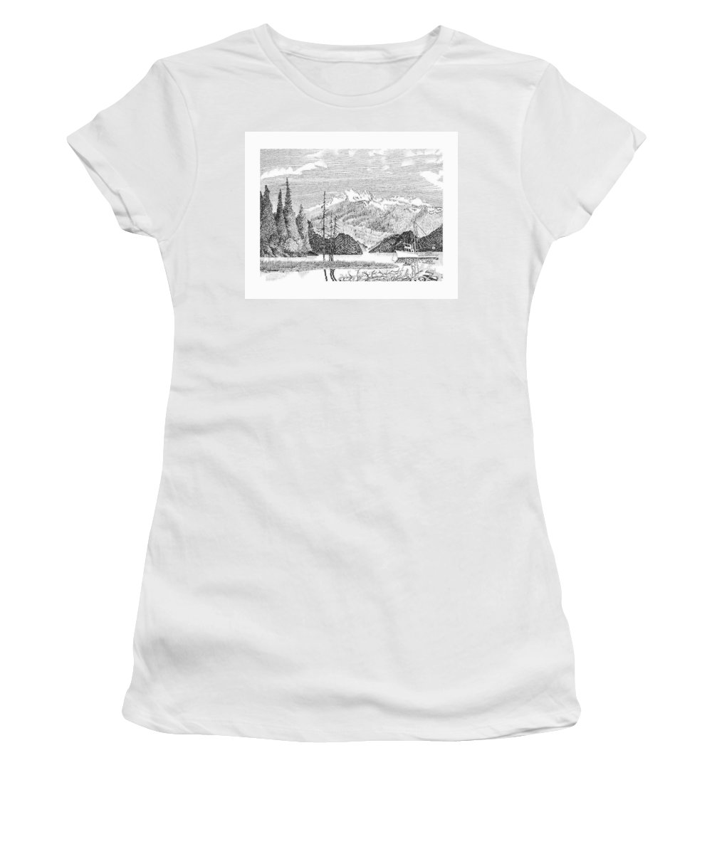Framed Prints Of Fishing Boats In Alaska Nautical Harbor Bay Boats Women's T-Shirt (Athletic Fit) featuring the drawing Snug Harbor Alaska Anchorage by Jack Pumphrey