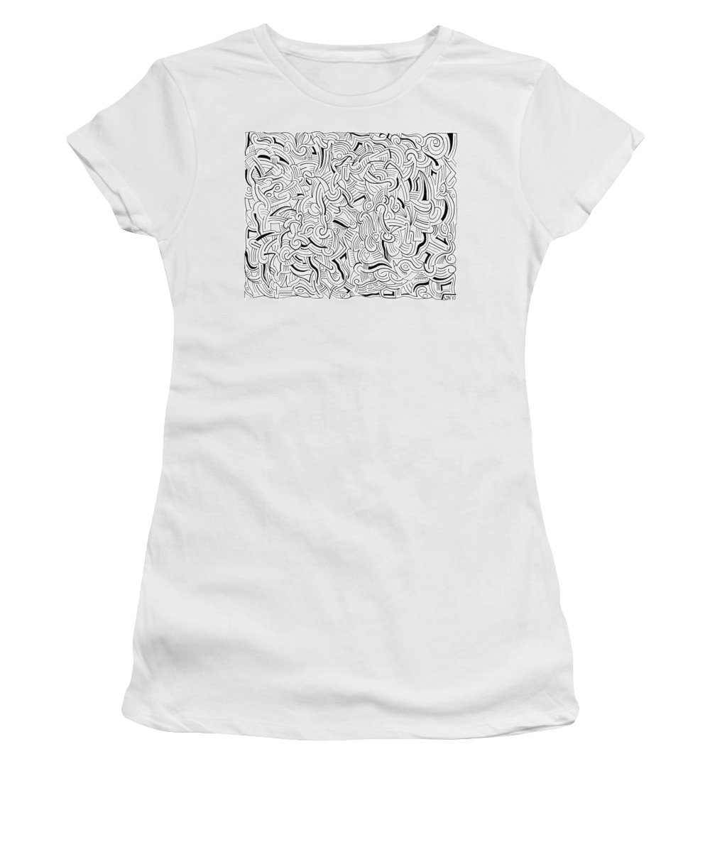 Abstract Women's T-Shirt (Athletic Fit) featuring the drawing So Close Yet So Far by Steven Natanson