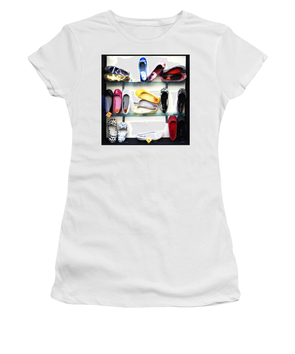 Shoes Women's T-Shirt (Athletic Fit) featuring the photograph So Many Shoes... by Marilyn Hunt