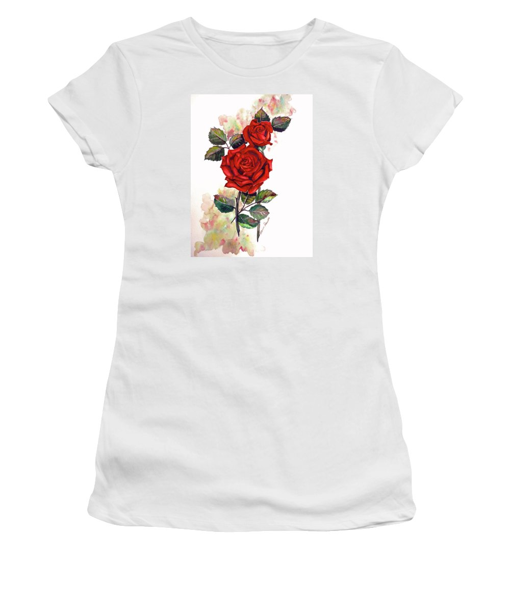 Red Rose Paintings Women's T-Shirt (Athletic Fit) featuring the painting So Red by Karin Dawn Kelshall- Best