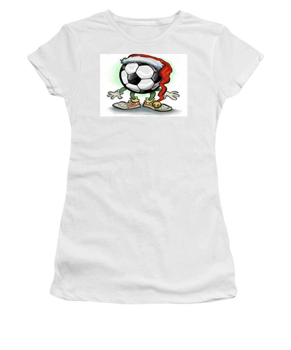 Soccer Women's T-Shirt (Athletic Fit) featuring the greeting card Soccer Christmas by Kevin Middleton