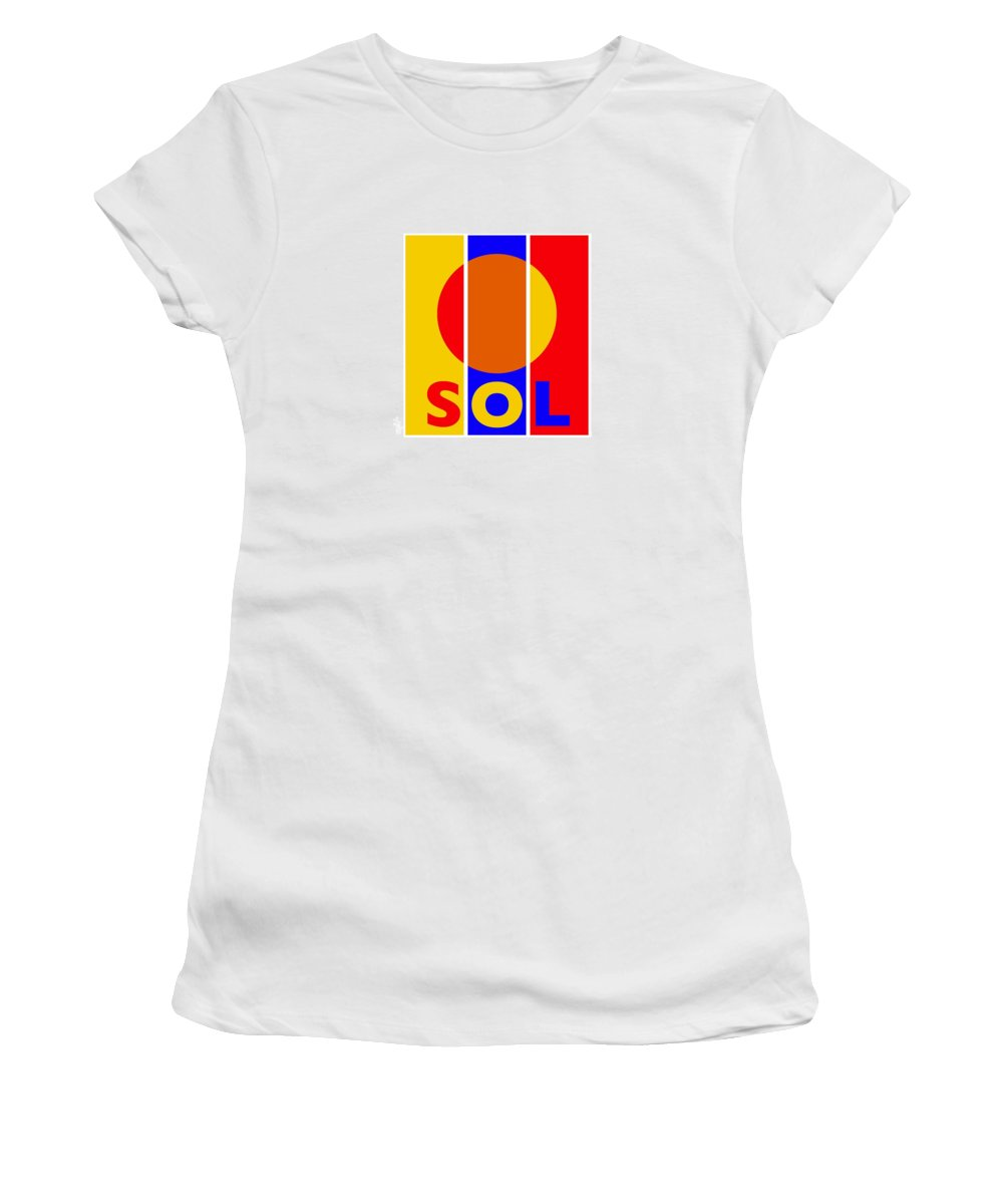 Primary Colors Women's T-Shirt featuring the painting Solar by Charles Stuart