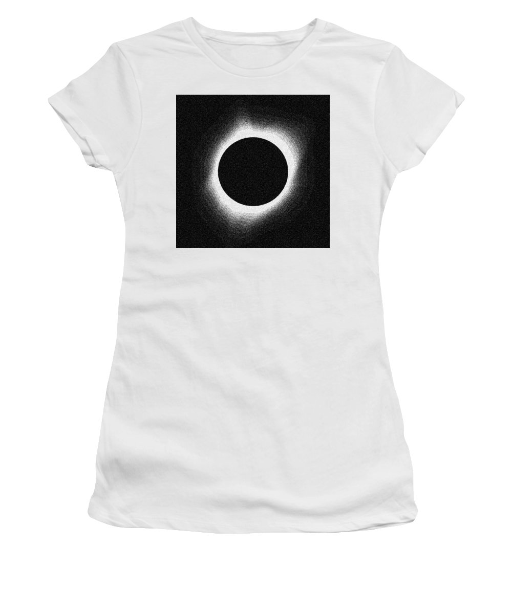Sun Women's T-Shirt (Athletic Fit) featuring the painting Solar Eclipse 2017 by Celestial Images
