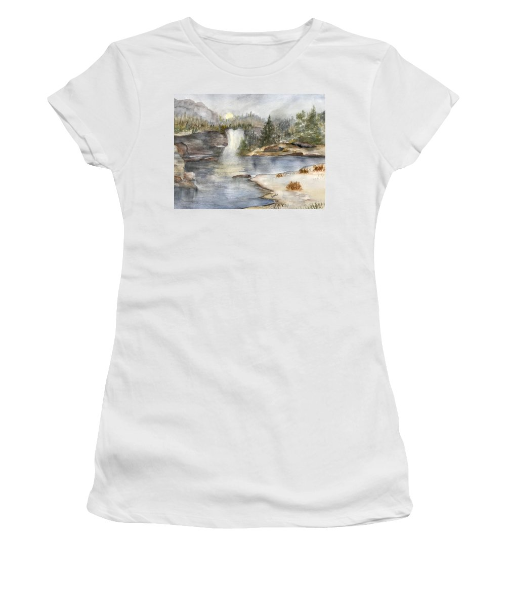 Lake Women's T-Shirt featuring the painting Solitude by Paintings by Florence - Florence Ferrandino