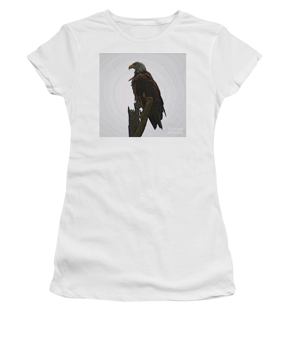 Bald Eagle Women's T-Shirt (Athletic Fit) featuring the photograph Solitude by Robert Pearson