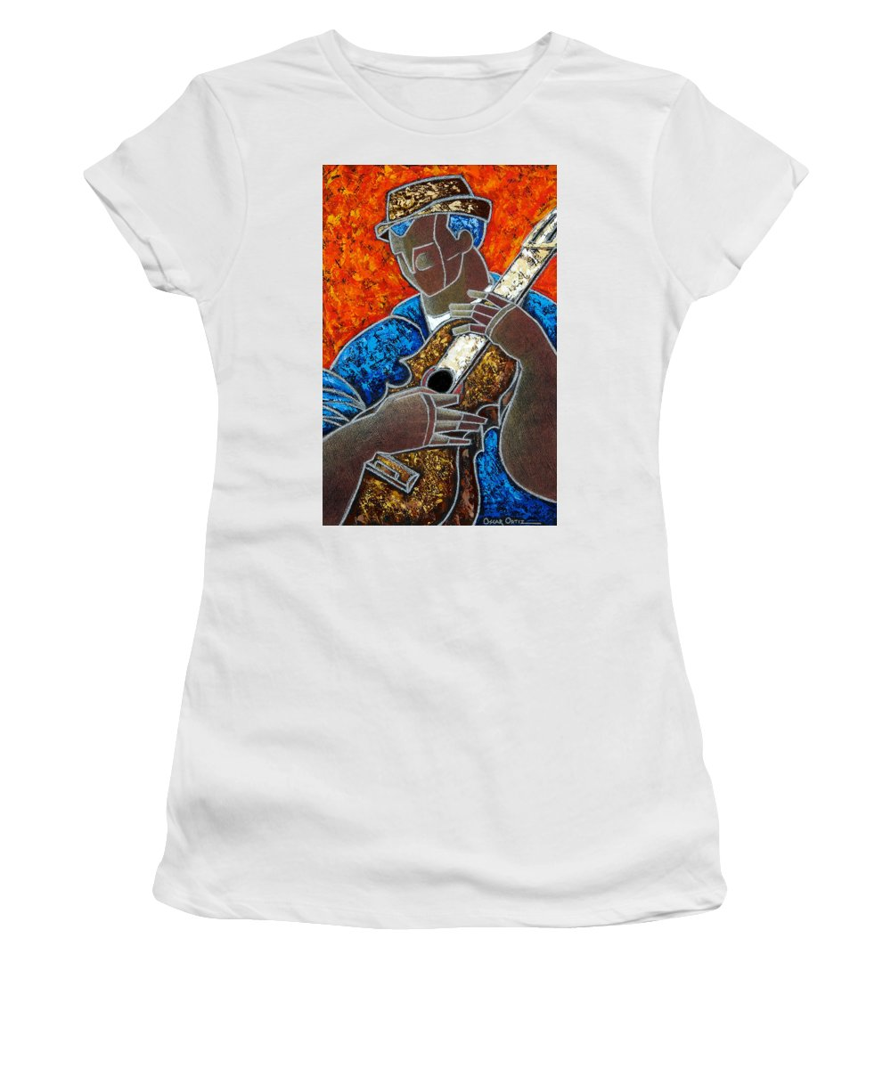 Puerto Rico Women's T-Shirt (Junior Cut) featuring the painting Solo De Cuatro by Oscar Ortiz
