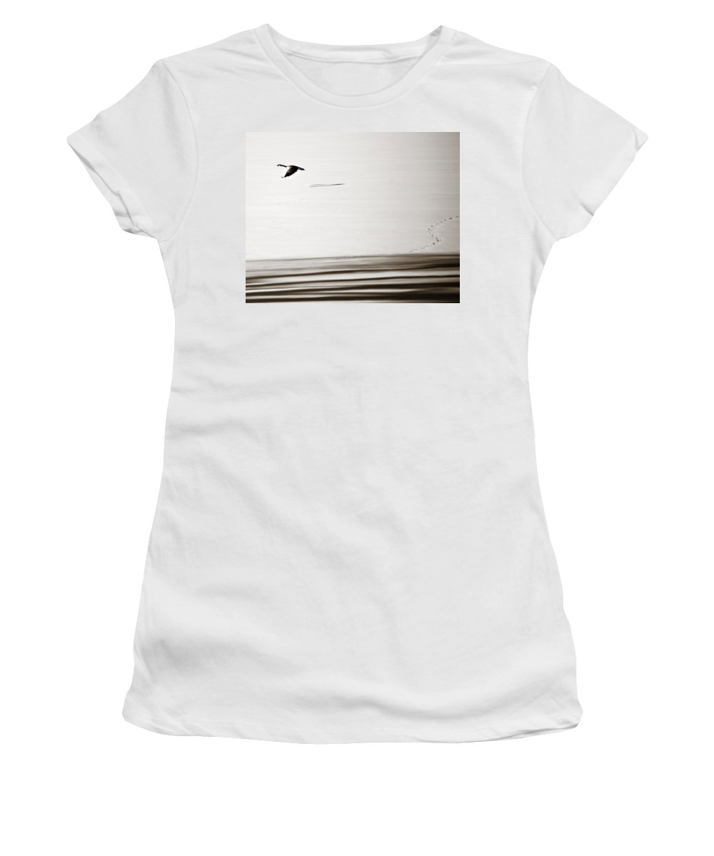Goose Women's T-Shirt (Athletic Fit) featuring the photograph Solo Flight by Marilyn Hunt