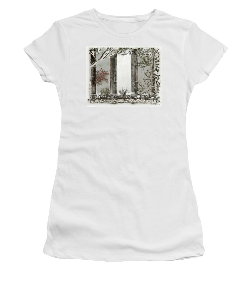 Art Photography Women's T-Shirt featuring the photograph Solorised Pillars by Blake Richards