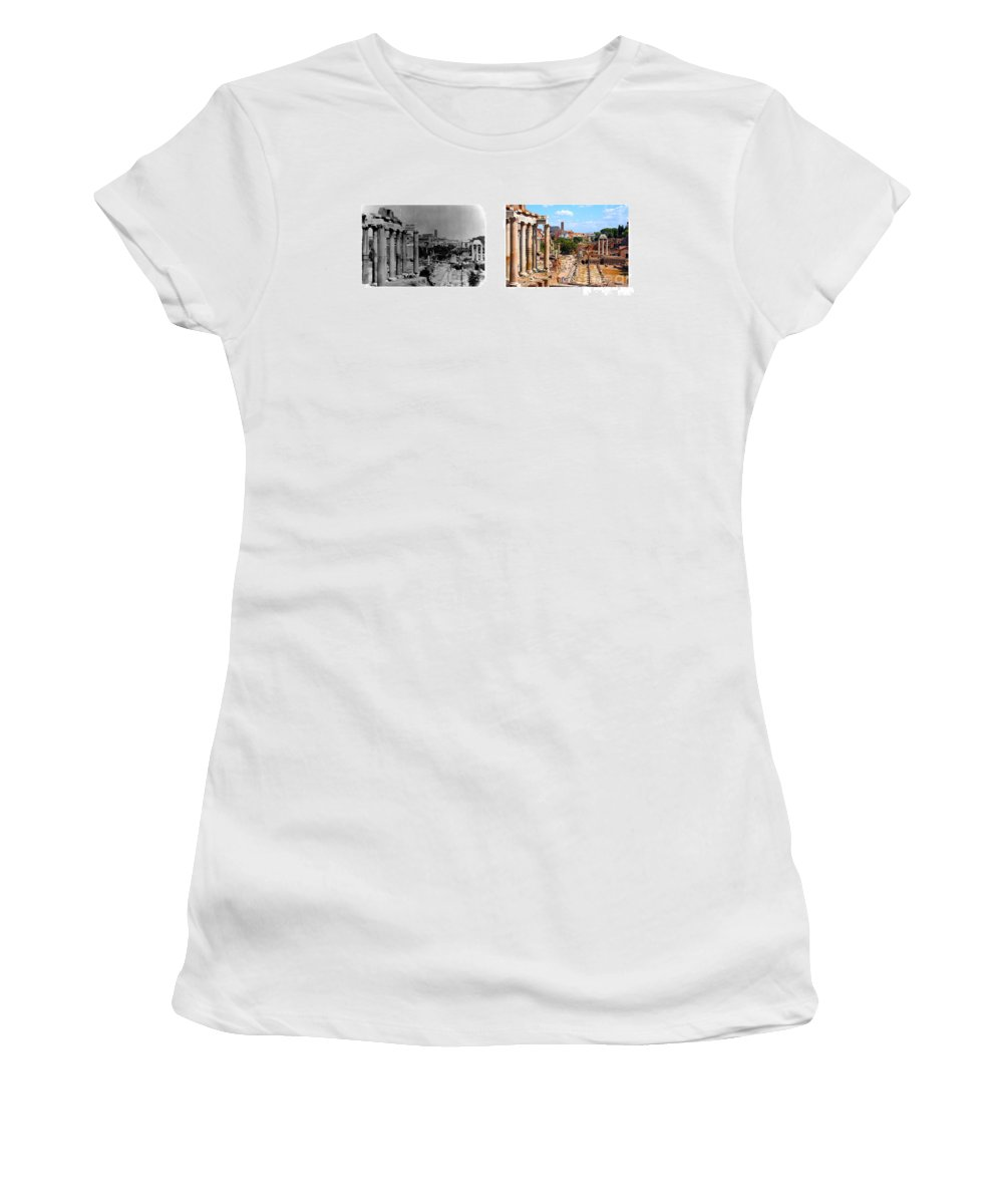 Rome Women's T-Shirt (Athletic Fit) featuring the photograph Some Things Don't Change - A Photo I Took In 1972 Vs One I Took In 2007 by Thomas Marchessault