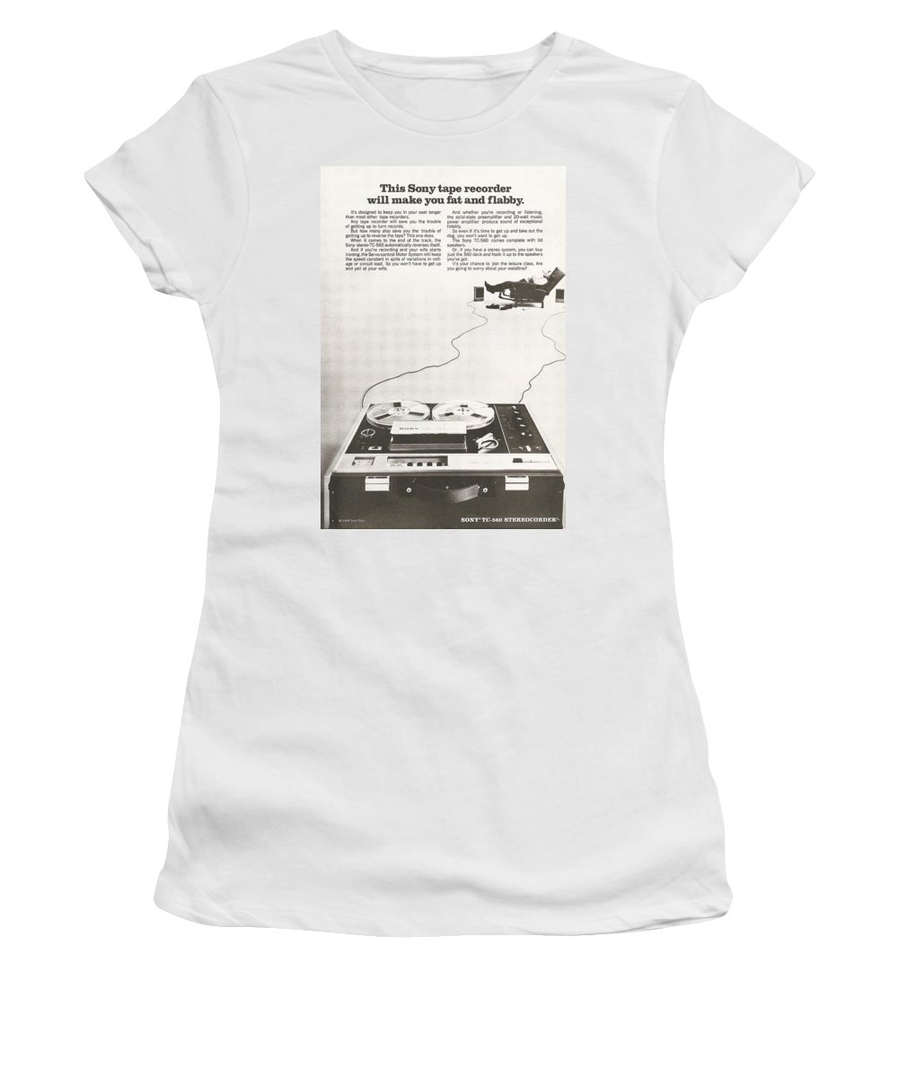 Tape Women's T-Shirt (Athletic Fit) featuring the digital art Sony Vintage Advert by Georgia Fowler