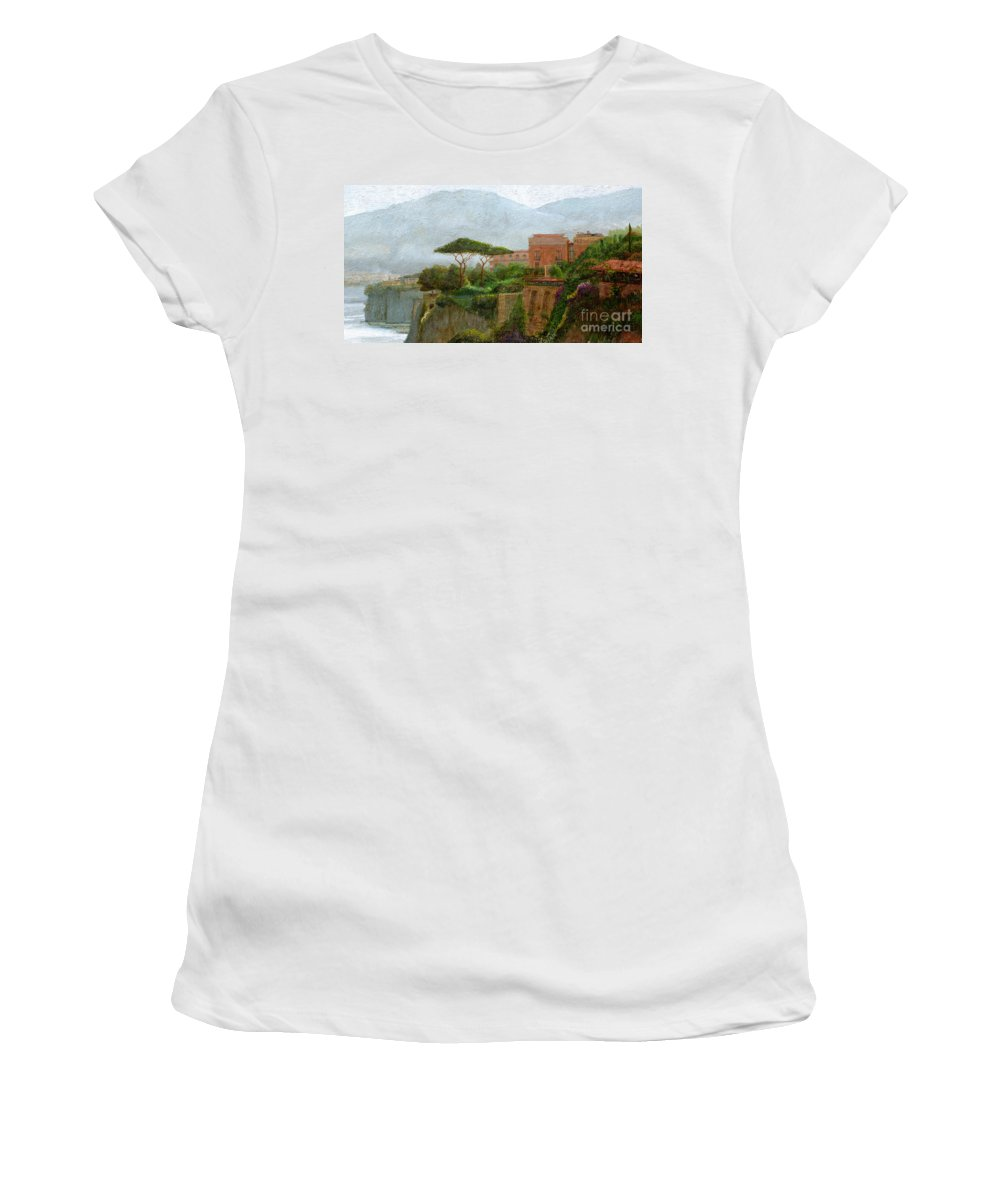 Amalfi Coast; Coastal; Landscape; Italian; Italy; Mountain; Mountains; Tree; Trees; Sorrento; Albergo Women's T-Shirt featuring the painting Sorrento Albergo by Trevor Neal