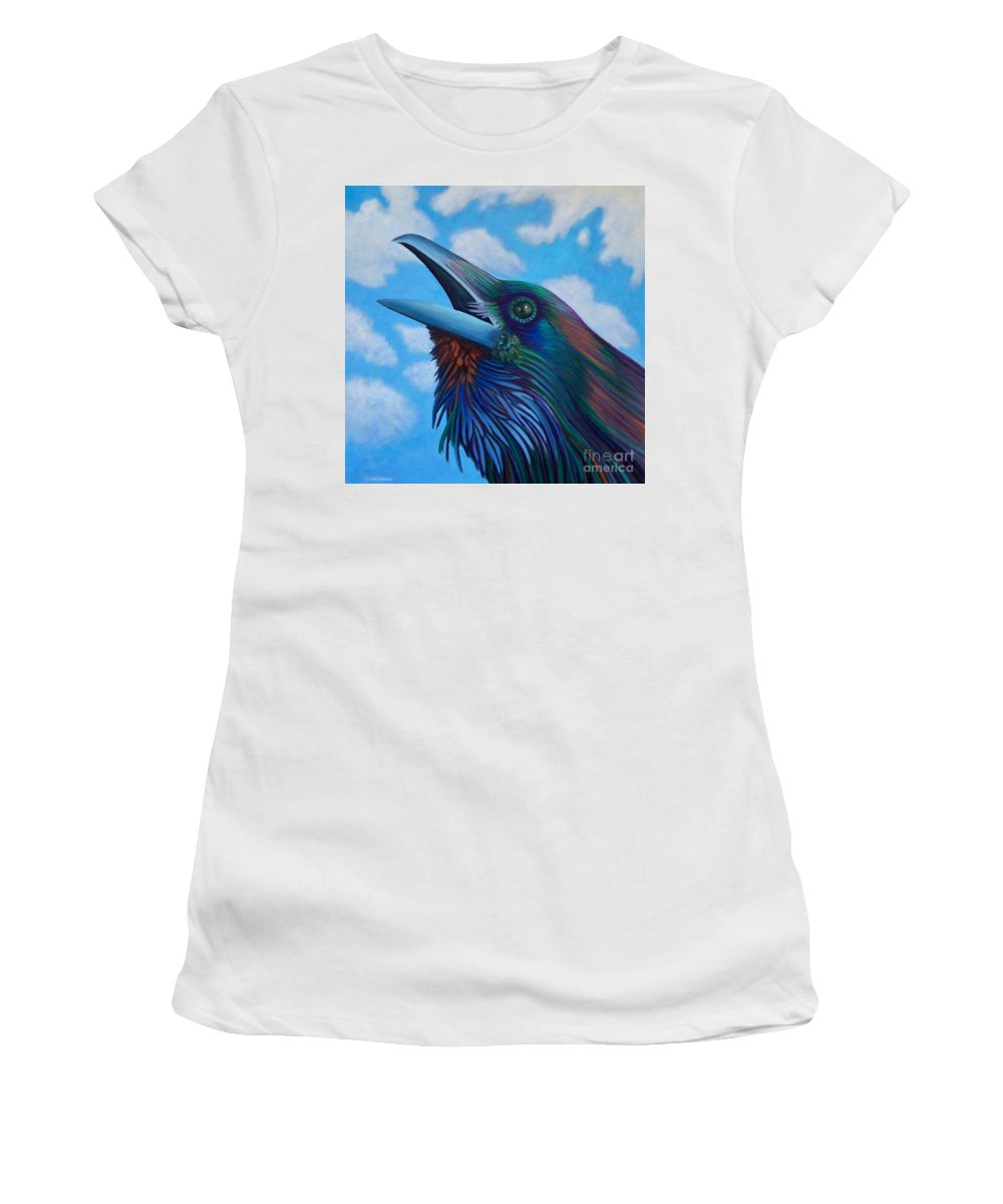 Raven Women's T-Shirt (Athletic Fit) featuring the painting Soul Call by Brian Commerford