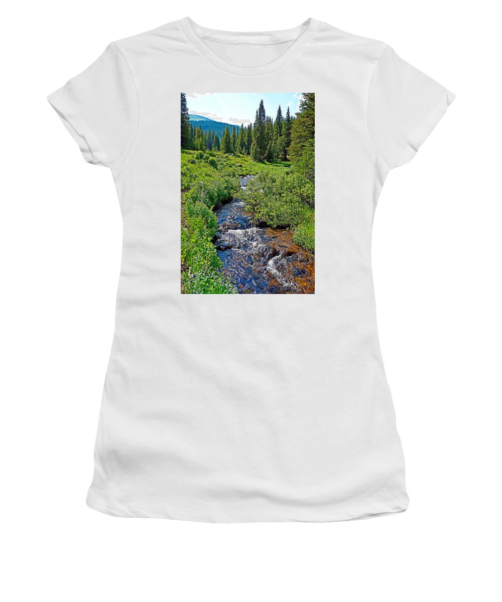 South Fork Ranch Women's T-Shirt featuring the photograph South Fork Ranch Creek Colorado by Robert Meyers-Lussier