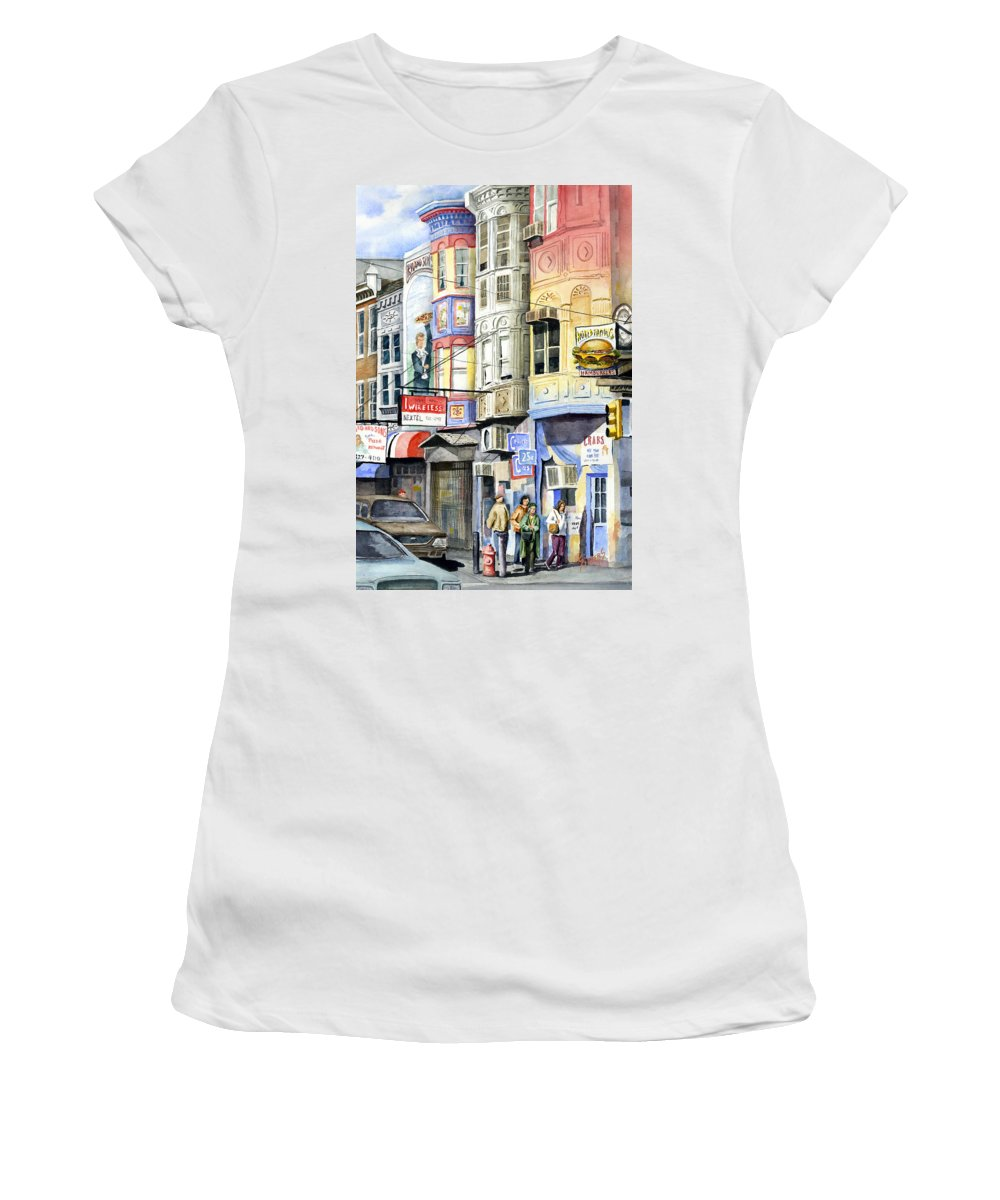 Street Women's T-Shirt (Athletic Fit) featuring the painting South Street by Sam Sidders