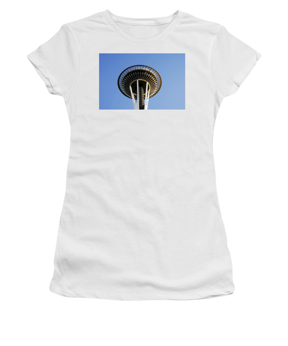 Space Needle Women's T-Shirt (Athletic Fit) featuring the photograph Space Needle by David Lee Thompson