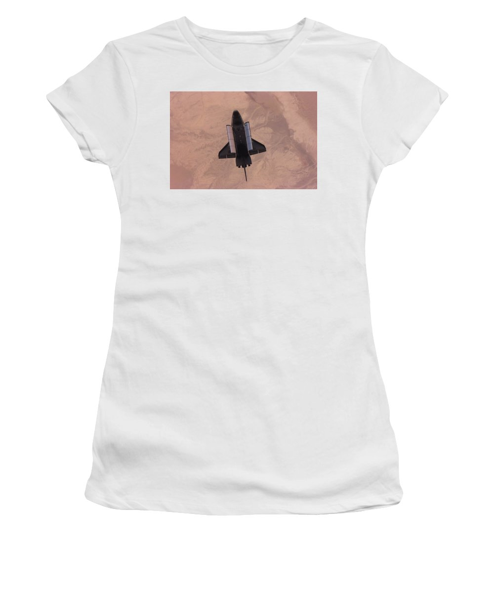 Space Shuttle Women's T-Shirt (Athletic Fit) featuring the digital art Space Shuttle by Mery Moon