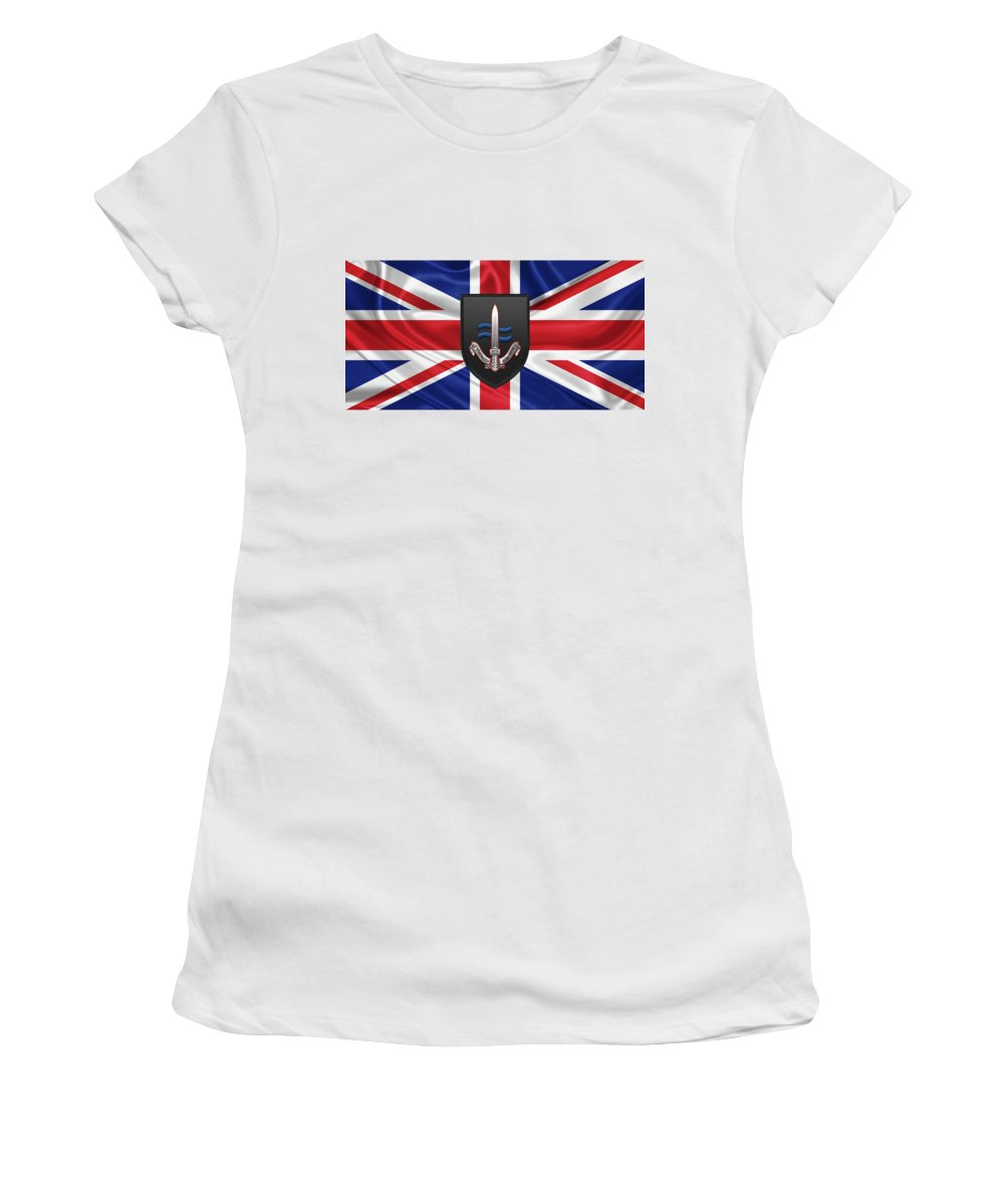 'military Insignia 3d' Collection By Serge Averbukh Women's T-Shirt featuring the digital art Special Boat Service - S B S Patch Over British Flag by Serge Averbukh
