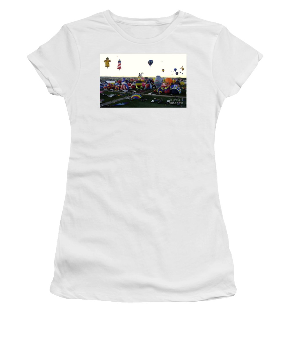 Hot Air Balloons Women's T-Shirt (Athletic Fit) featuring the photograph Special Shapes by Mary Rogers