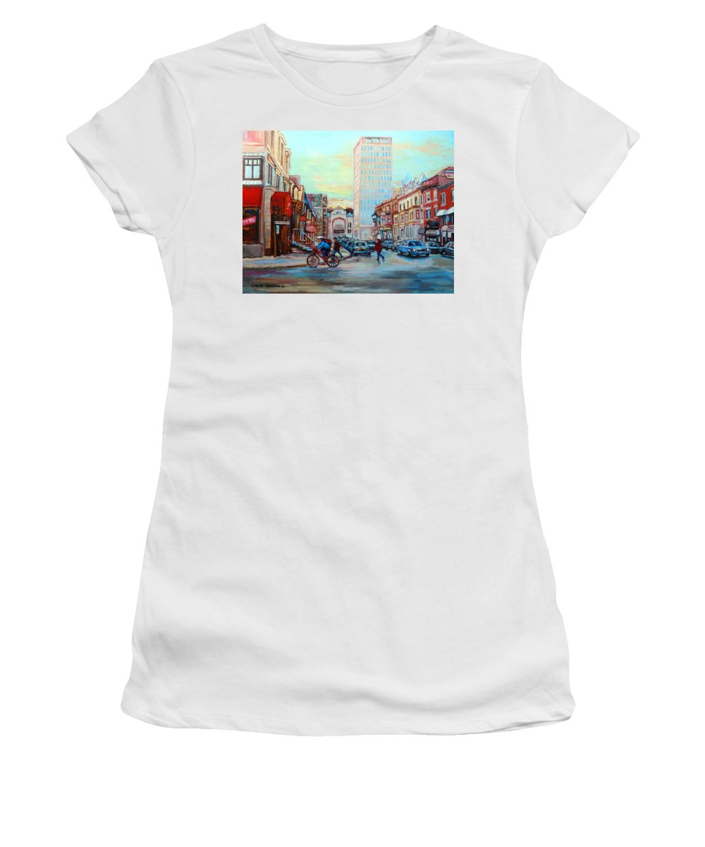 Montreal Women's T-Shirt (Athletic Fit) featuring the painting Speed Cyclist On Crescent by Carole Spandau