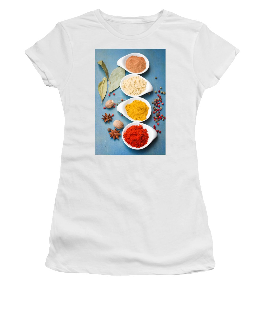 Pepper Women's T-Shirt featuring the photograph Spices On Blue  by Anastasy Yarmolovich